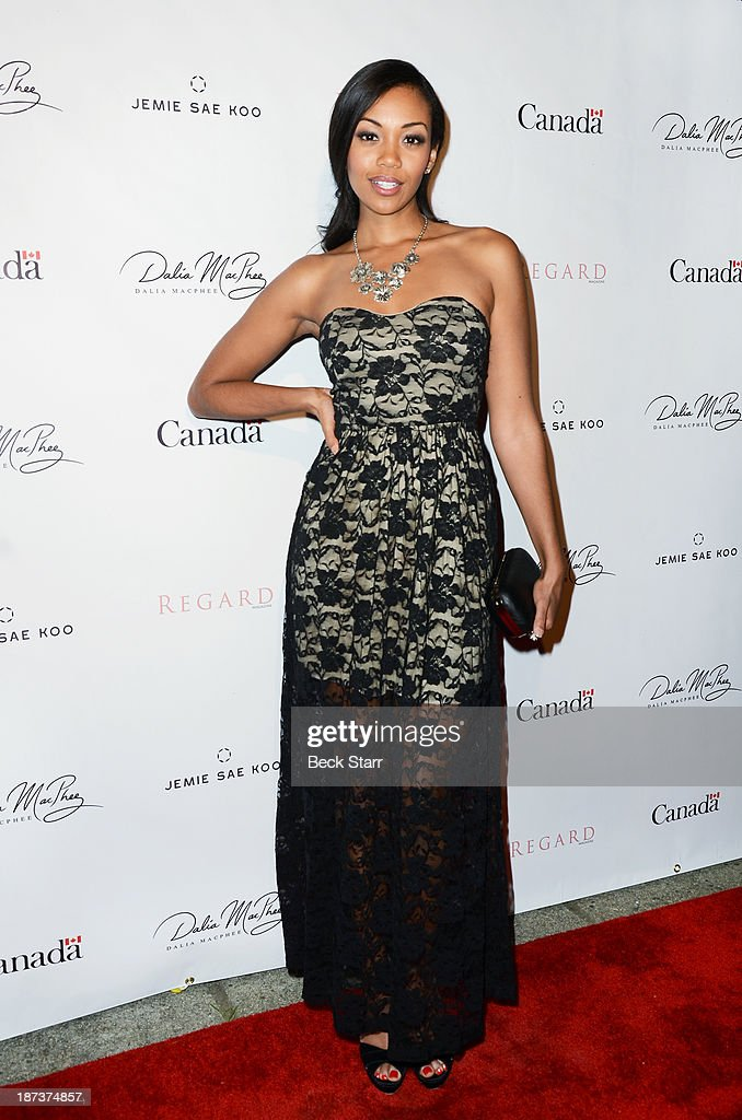 Actress <a gi-track='captionPersonalityLinkClicked' href=/galleries/search?phrase=Mishael+Morgan&family=editorial&specificpeople=11005529 ng-click='$event.stopPropagation()'>Mishael Morgan</a> arrives at Canadian Consul General honors fashion designer Dalia MacPhee on November 7, 2013 in Los Angeles, California.