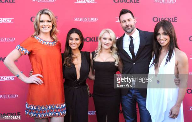 Actress Missi Pyle actress Emmanuelle Chriqui actress Emily Osment director/writer Paul Leyden and actress Laura Aleman arrive at the Crackle...