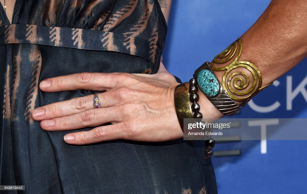 Actress Missi Pyle jewelry detail arrives at the premiere of Bleecker Street Media's 'Captain Fantastic' at Harmony Gold on June 28 2016 in Los...