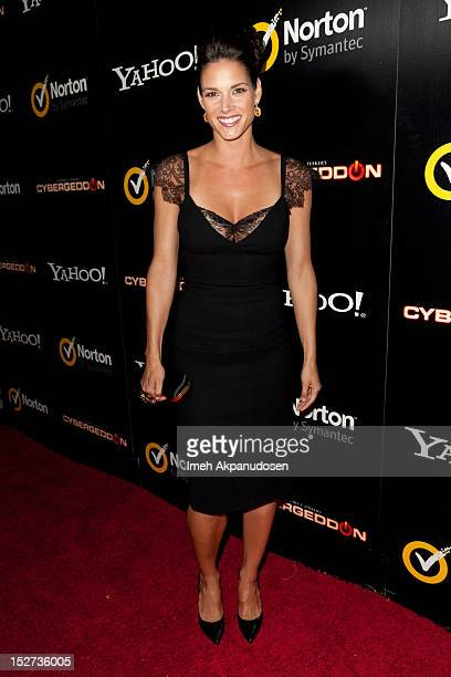 Actress Missy Peregrym attends the premiere of 'Cybergeddon' at Pacfic Design Center on September 24 2012 in West Hollywood California