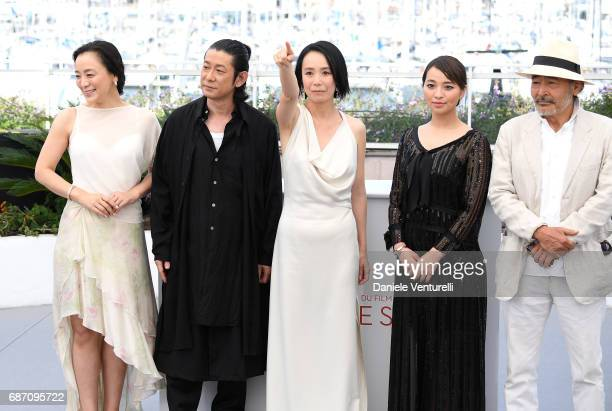 Actress Misuzu Kanno actors Nagase Masatoshi director Naomi Kawase Ayame Misaki and Tatsuya Fuji attend the 'Hikari ' photocall during the 70th...