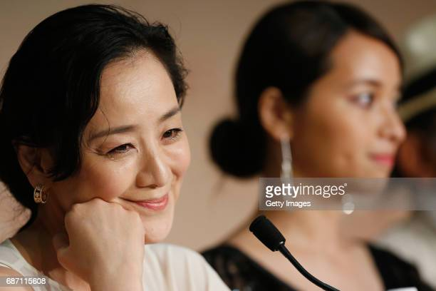 Actress Misuzu Kanno and actress Ayame Misaki attend the 'Hikari ' press conference during the 70th annual Cannes Film Festival at Palais des...