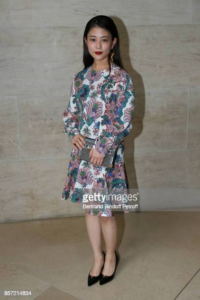 Actress Mitsuki Takahata attends the Louis Vuitton show as part of the Paris Fashion Week Womenswear Spring/Summer 2018 on October 3 2017 in Paris...