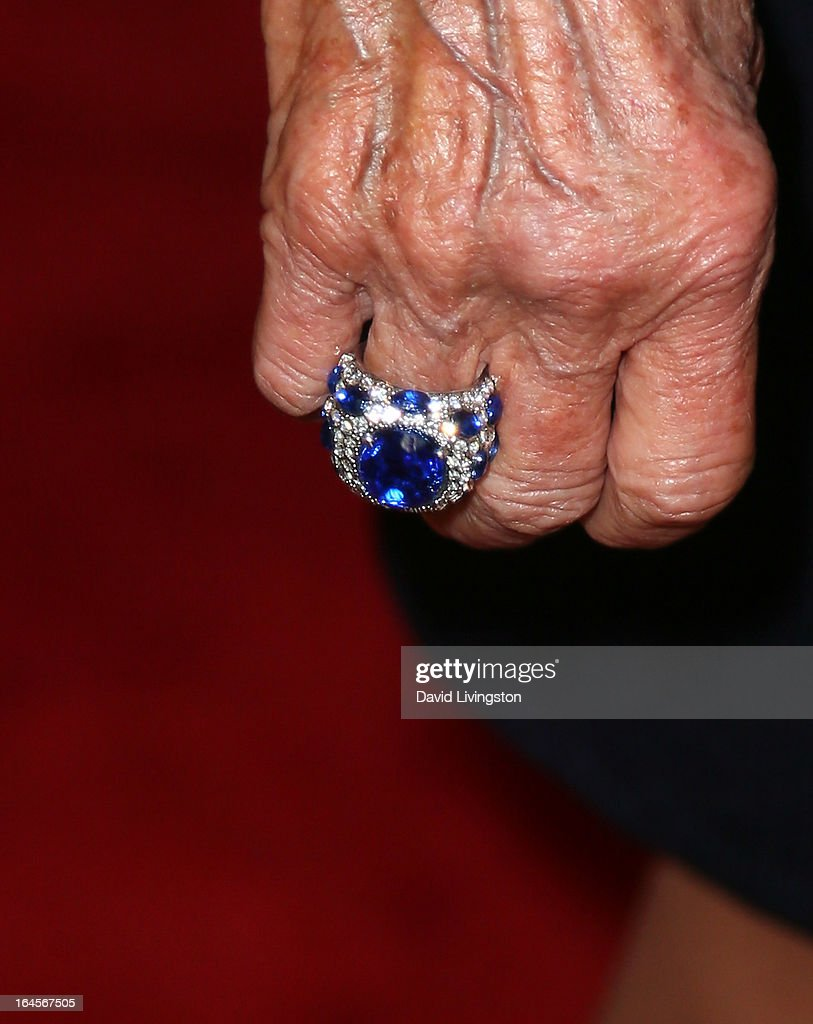 Actress Mitzi Gaynor (ring detail) attends the Professional Dancers Society's Gypsy Awards Luncheon at The Beverly Hilton Hotel on March 24, 2013 in Beverly Hills, California.