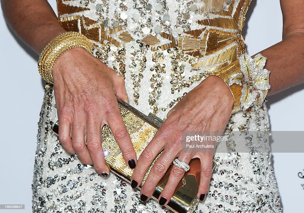Actress / Model Elle Macpherson (Jewelry Detail / Handbag Detail) attends the 2013 G'Day USA Los Angeles Black Tie Gala at JW Marriott Los Angeles at L.A. LIVE on January 12, 2013 in Los Angeles, California.