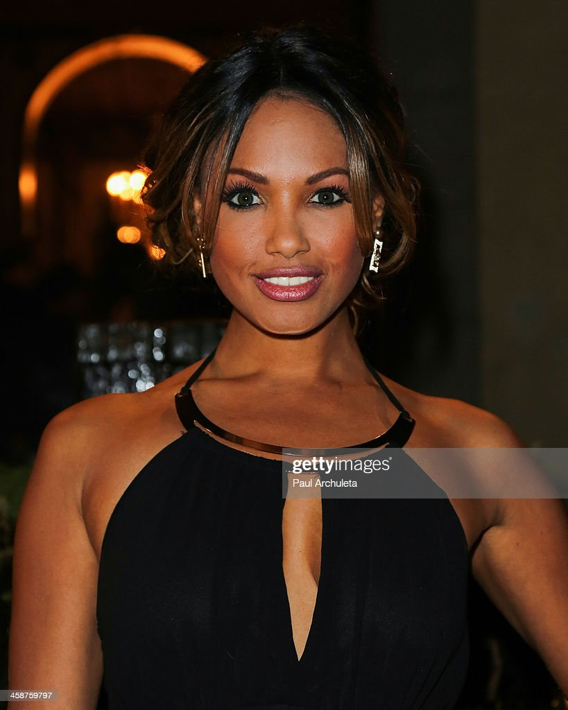 Actress / Model <a gi-track='captionPersonalityLinkClicked' href=/galleries/search?phrase=K.D.+Aubert&family=editorial&specificpeople=762632 ng-click='$event.stopPropagation()'>K.D. Aubert</a> attends Sue Wong's holiday party on December 20, 2013 in Los Angeles, California.