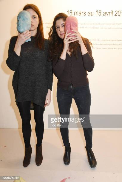 Actress /model Zoe Duchesne and Visual happening artist Sarah Trouche during the 'Faccia A Faccia' Sarah Trouche performance exhibition at Galerie...