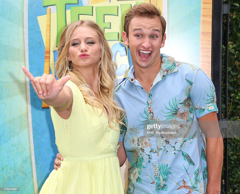 Actress Mollee Gray (L) and actor Kent Boyd attend the cast of 'Teen Beach Movie' reunion for movie night at Walt Disney Studios on July 10, 2013 in Burbank, California.