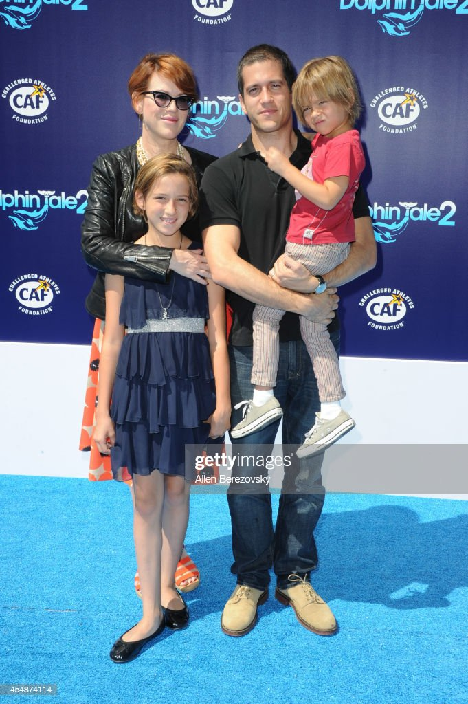 Actress Molly Ringwald and family attend the Los Angeles Premiere of 'Dolphin Tale 2' at Regency Village Theatre on September 7, 2014 in Westwood, California.