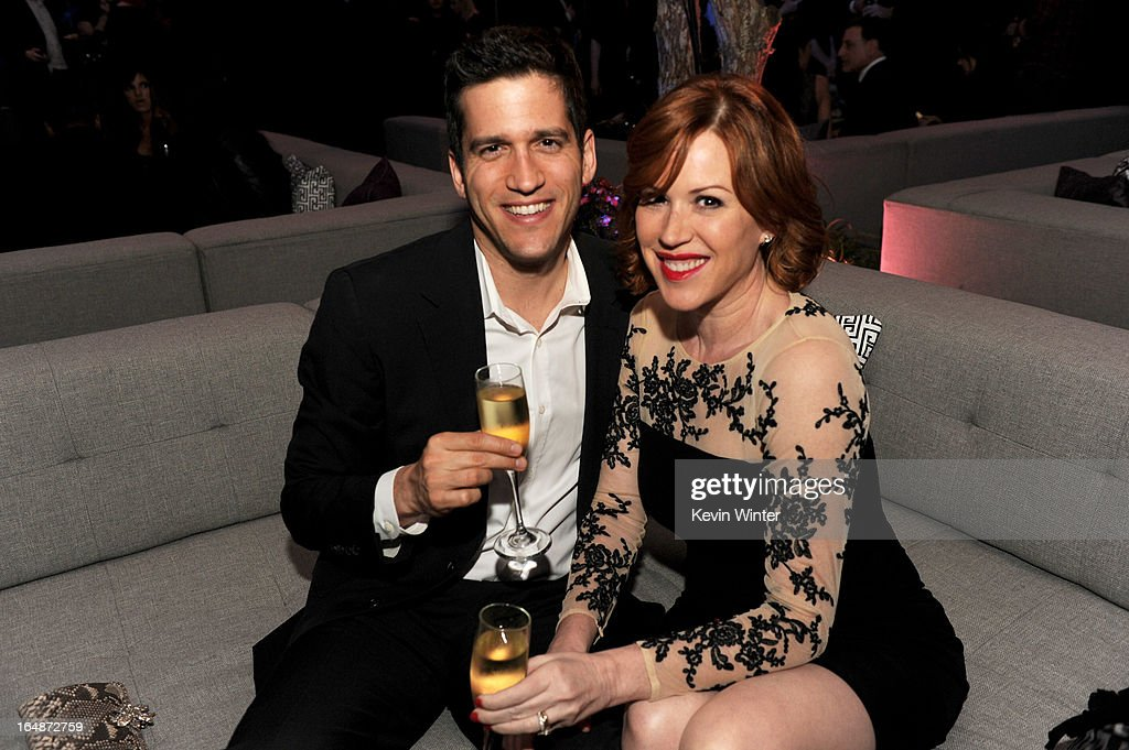 Actress <a gi-track='captionPersonalityLinkClicked' href=/galleries/search?phrase=Molly+Ringwald&family=editorial&specificpeople=206508 ng-click='$event.stopPropagation()'>Molly Ringwald</a> (R) and her husband writer Panio Gianopoulos pose at the after party for the premiere of Paramount Pictures' 'G.I. Joe: Retaliation' at the Roosevelt Hotel on March 28, 2013 in Los Angeles, California.