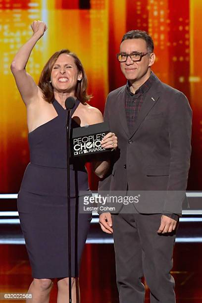 Actress Molly Shannon and actor Fred Armisen speak onstage during the People's Choice Awards 2017 at Microsoft Theater on January 18 2017 in Los...