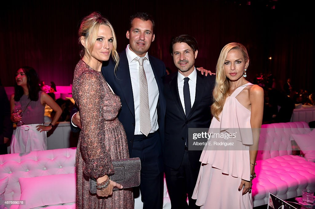 Actress Molly Sims producer Scott Stuber Rodger Berman and host Rachel Zoe attend Elyse Walker presents the 10th anniversary Pink Party hosted by...