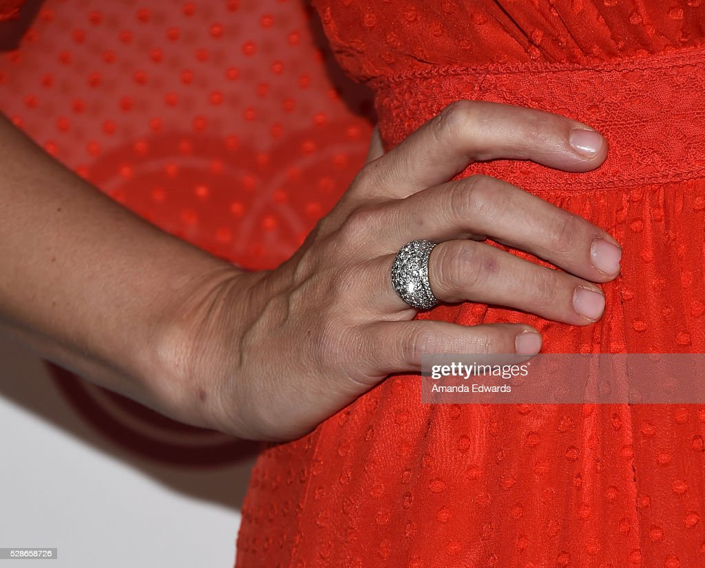 Actress Molly Sims, ring detail, arrives at The Helping Hand of Los Angeles' 87th Anniversary Mother's Day Luncheon and Fashion Show at the Beverly Wilshire Four Seasons Hotel on May 6, 2016 in Beverly Hills, California.