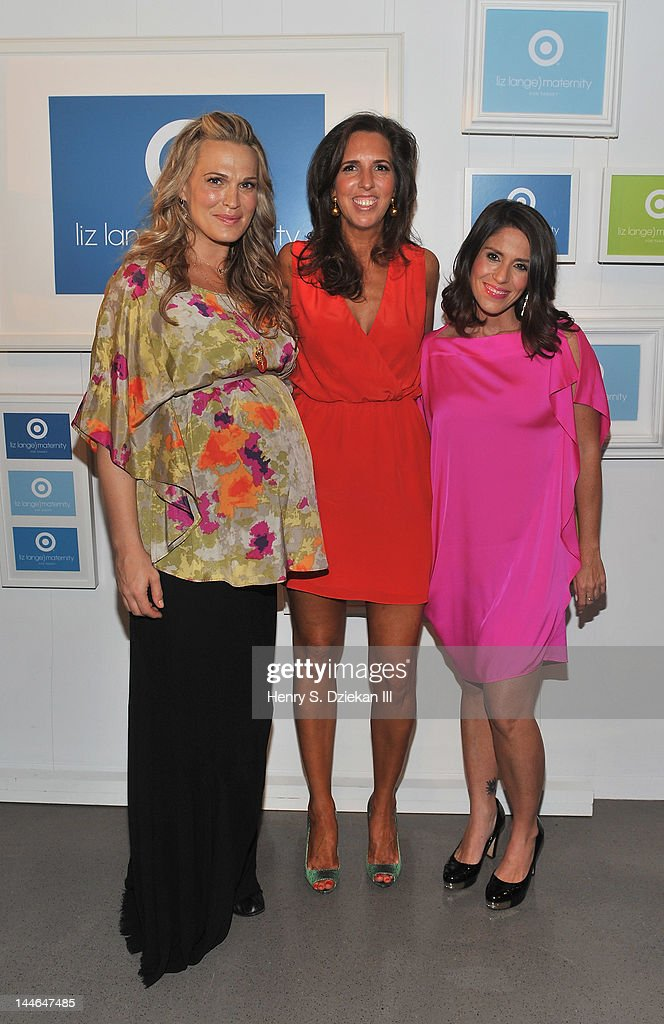 Actress Molly Sims, Target maternity wear designer Liz Lange and actress, director Soleil Moon Frye pose for a portrait as they attend Liz Lange for Target 10th Anniversary Party at The Glasshouses on May 16, 2012 in New York City.