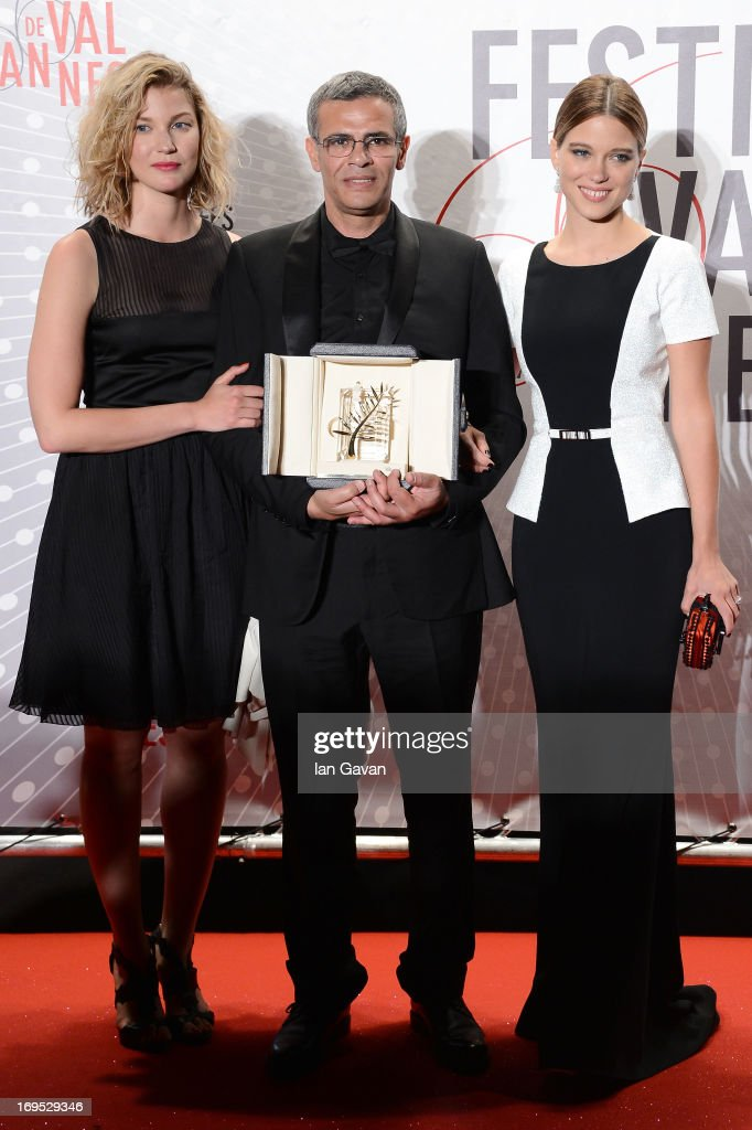Actress Mona Walravens, director Abdellatif Kechiche and actress Lea Seydoux, winner of the 'Palme d'Or' for 'La Vie D'adele', attend the Palme D'Or Winners dinner during The 66th Annual Cannes Film Festival at Agora on May 26, 2013 in Cannes, France.