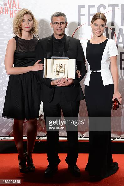 Actress Mona Walravens director Abdellatif Kechiche and actress Lea Seydoux winner of the 'Palme d'Or' for 'La Vie D'adele' attend the Palme D'Or...