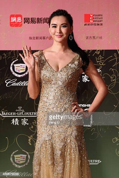 Actress Monica arrives for the red carpet of the 17th Shanghai International Film Festival at Shanghai Grand Theatre on June 14 2014 in Shanghai China