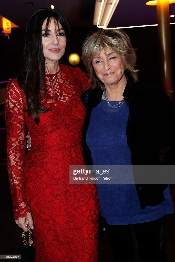 Actress Monica Bellucci and Director Daniele Thompson attend 'Des gens qui s'embrassent' movie premiere at Cinema Gaumont Marignan on April 1, 2013 in Paris, France.