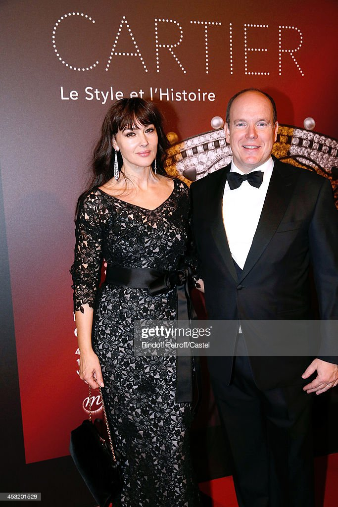 Actress <a gi-track='captionPersonalityLinkClicked' href=/galleries/search?phrase=Monica+Bellucci&family=editorial&specificpeople=204777 ng-click='$event.stopPropagation()'>Monica Bellucci</a> and Prince Albert de Monaco attend the 'Cartier: Le Style et L'Histoire' Exhibition Private Opening at Le Grand Palais on December 2, 2013 in Paris, France.