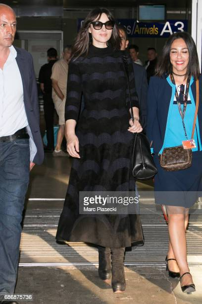 Actress Monica Bellucci arrives at Nice airport during the 70th annual Cannes Film Festival at on May 22 2017 in Cannes France