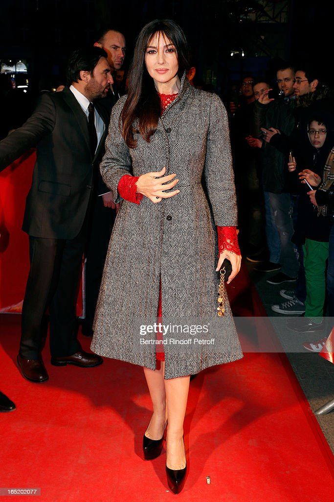 Actress Monica Bellucci attends 'Des gens qui s'embrassent' movie premiere at Cinema Gaumont Marignan on April 1, 2013 in Paris, France.
