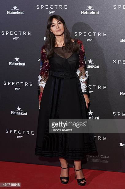 Actress Monica Bellucci attends the 'Spectre' premiere at the Royal Theater on October 28 2015 in Madrid Spain