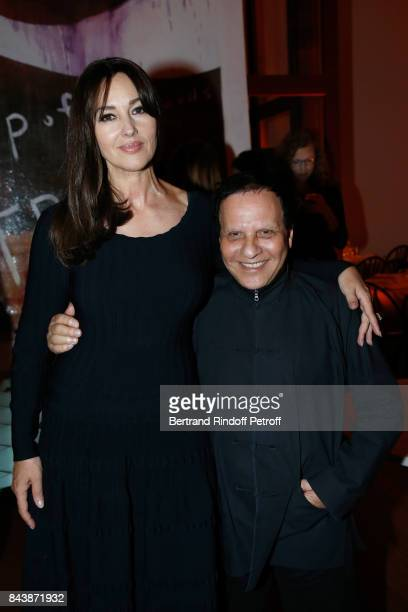 Actress Monica Bellucci dressed in Azzedine Alaia and stylist Azzedine Alaia attend the 'Richard Wentworth a la Maison Alaia' Exhibition Opening at...