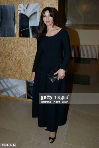 Actress Monica Bellucci dressed in Azzedine Alaia attends the 'Richard Wentworth a la Maison Alaia' Exhibition Opening at Azzedine Alaia Gallery on...