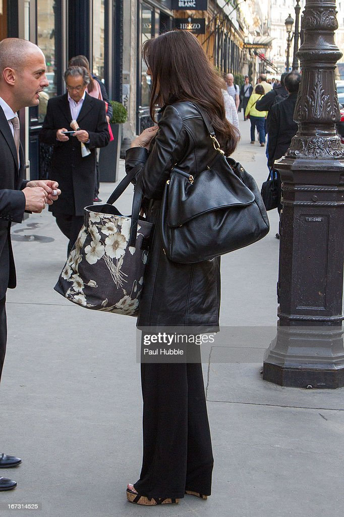Actress <a gi-track='captionPersonalityLinkClicked' href=/galleries/search?phrase=Monica+Bellucci&family=editorial&specificpeople=204777 ng-click='$event.stopPropagation()'>Monica Bellucci</a> is seen leaving the 'Park Hyatt Vendome' hotel on April 24, 2013 in Paris, France.