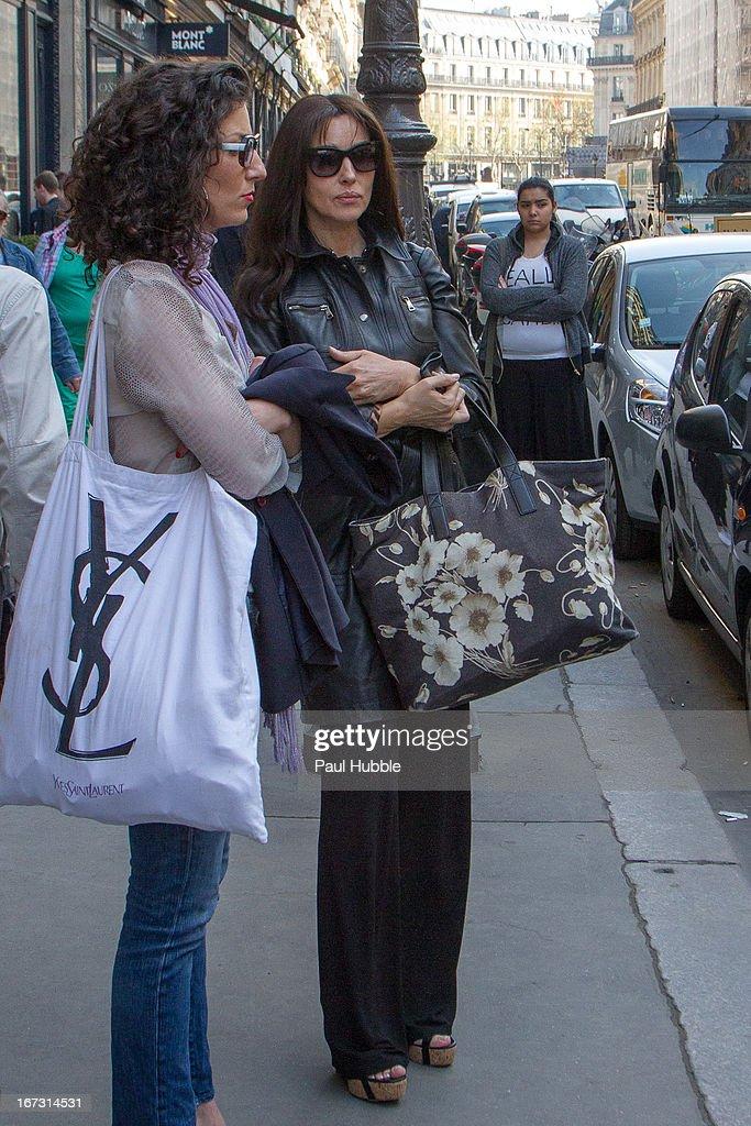 Actress Monica Bellucci is seen leaving the 'Park Hyatt Vendome' hotel on April 24, 2013 in Paris, France.