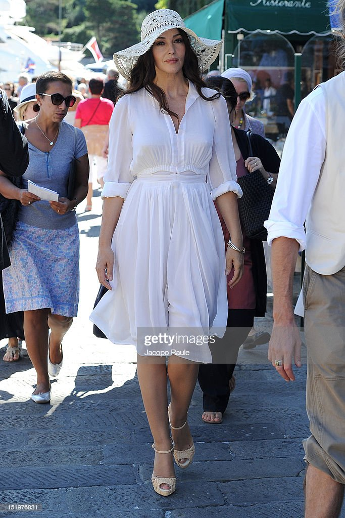 Actress Monica Bellucci on the set of 'Perlage' TV coomercial on September 14 2012 in Portofino Italy