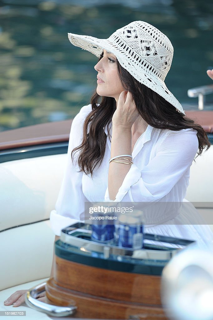 Actress Monica Bellucci on the set of 'Perlage' TV coomercial on September 14, 2012 in Portofino, Italy.
