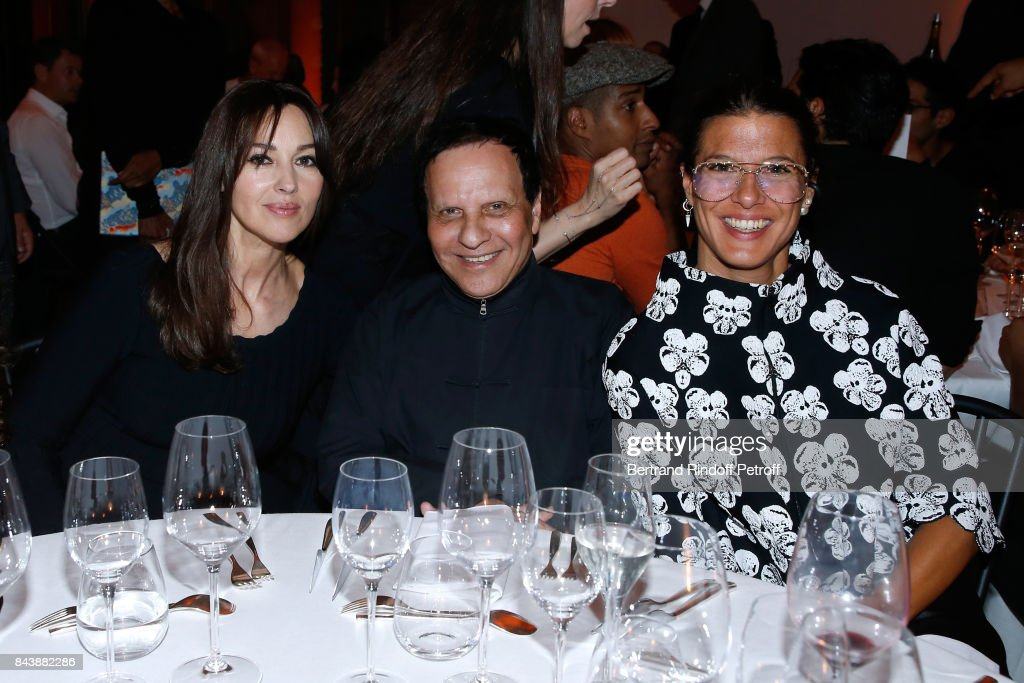 Actress Monica Bellucci, stylist Azzedine Alaia and Camille Miceli attend the 'Richard Wentworth a la Maison Alaia' Exhibition Opening at Azzedine Alaia Gallery on September 7, 2017 in Paris, France.