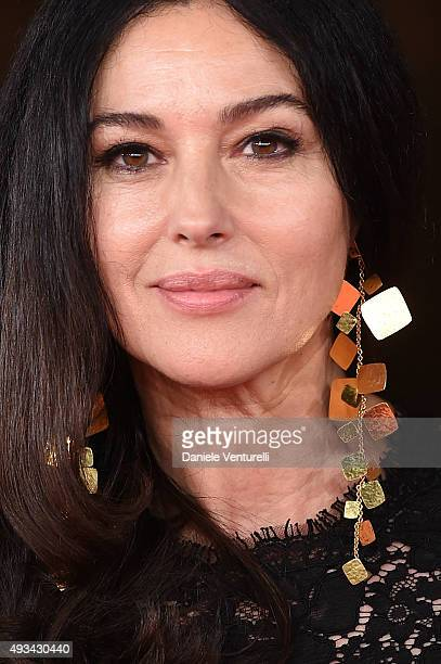 Actress Monica Bellucci walks the red carpet for 'VilleMarie' during the 10th Rome Film Fest at Auditorium Parco Della Musica on October 20 2015 in...