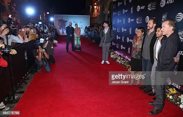 Actress Monica del Carmen director Gabriel Ripstein actor Kristyan Ferrer and actor Tim Roth attend the Mexican premiere of '600 Millas'during The...
