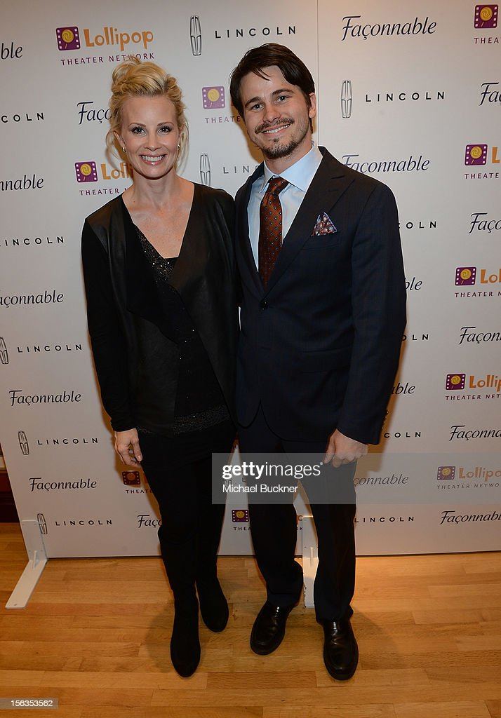 Actress Monica Potter (L) and actor Jason Ritter attend the Faconnable Kicks Off The Holidays Shopping Event Benefitting Lollipop Theater Network at Faconnable on November 13, 2012 in Beverly Hills, California.
