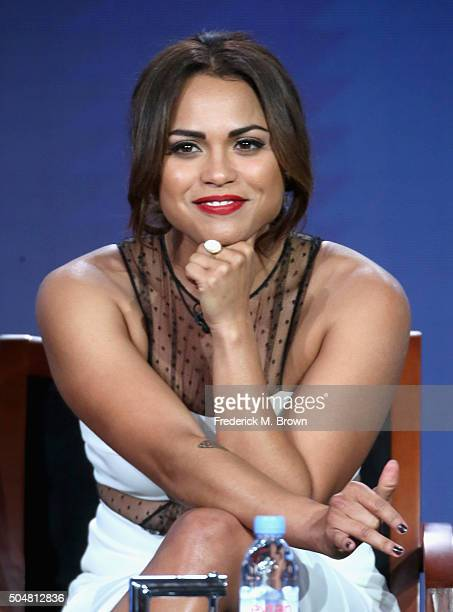 Actress Monica Raymund of 'Chicago Fire' speaks onstage during the 'Chicago Fire' 'Chicago PD' and 'Chicago Med' panel discussion at the NBCUniversal...