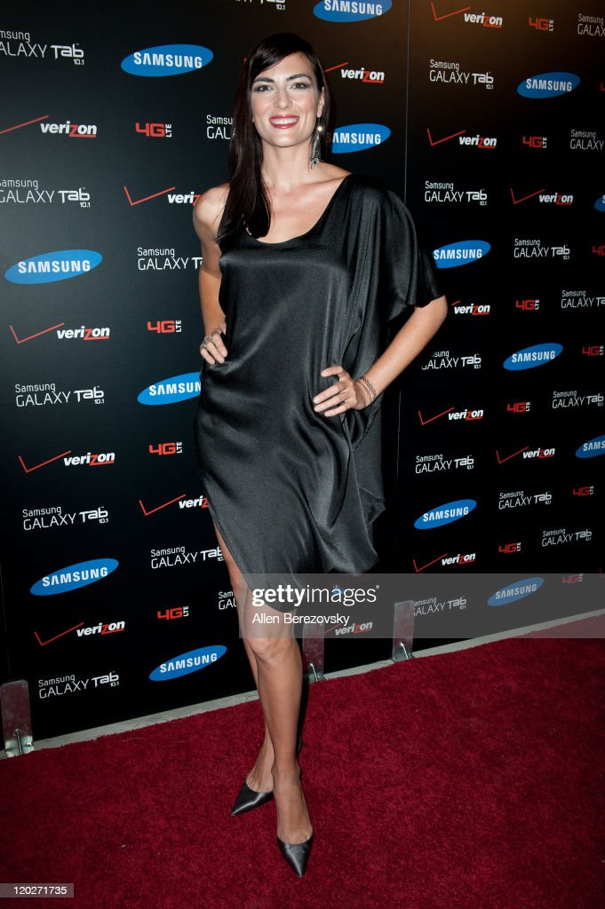 Actress Monique Ganderton arrives at the Samsung Galaxy Tab 10.1 launch party at The Beverly on August 2, 2011 in Los Angeles, California.