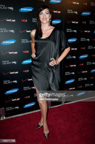 Actress Monique Ganderton arrives at the Samsung Galaxy Tab 101 launch party at The Beverly on August 2 2011 in Los Angeles California
