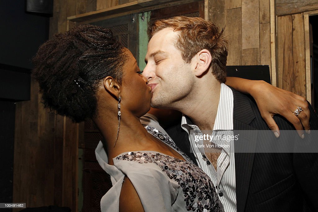 Actress Montego Glover and actor Chad Kimball attend Everlon Diamond Knot Strength Of Love Dinner For Cast of Broadway's Memphis at Double Crown Restaurant on May 24, 2010 in New York City.