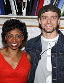 Actress Montego Glover and Justin Timberlake pose backstage at the hit broadway musical 'Memphis' on Broadway at The Shubert Theater on May 4 2010 in...