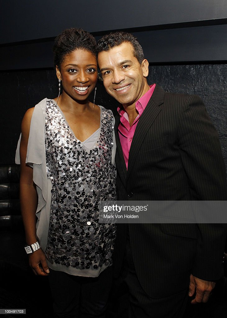 Actress Montego Glover and Memphis choreographer Sergio Trujillo attend Everlon Diamond Knot Strength Of Love Dinner For Cast of Broadway's Memphis at Double Crown Restaurant on May 24, 2010 in New York City.