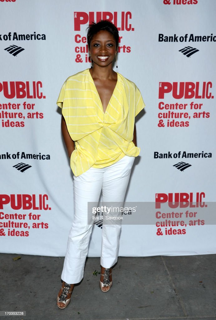 Actress <a gi-track='captionPersonalityLinkClicked' href=/galleries/search?phrase=Montego+Glover&family=editorial&specificpeople=2235786 ng-click='$event.stopPropagation()'>Montego Glover</a> attends Annual Public Theater Gala at Delacorte Theater on June 11, 2013 in New York City.