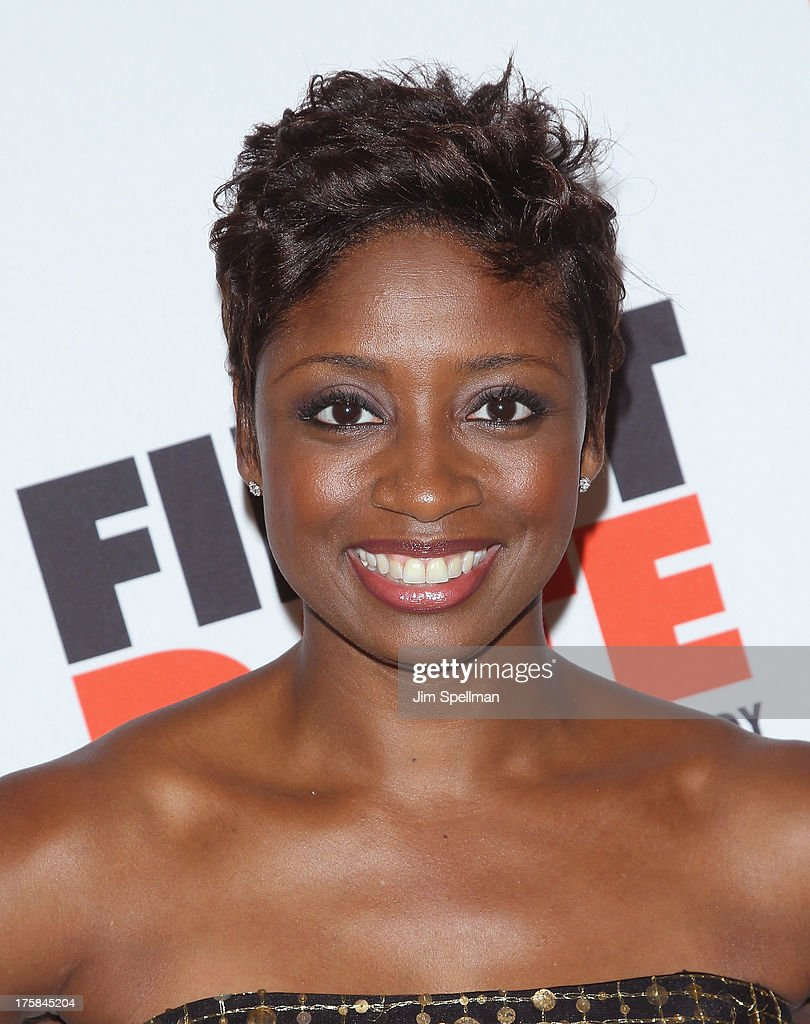 Actress <a gi-track='captionPersonalityLinkClicked' href=/galleries/search?phrase=Montego+Glover&family=editorial&specificpeople=2235786 ng-click='$event.stopPropagation()'>Montego Glover</a> attends 'First Date' Broadway Opening Night at Longacre Theatre on August 8, 2013 in New York City.