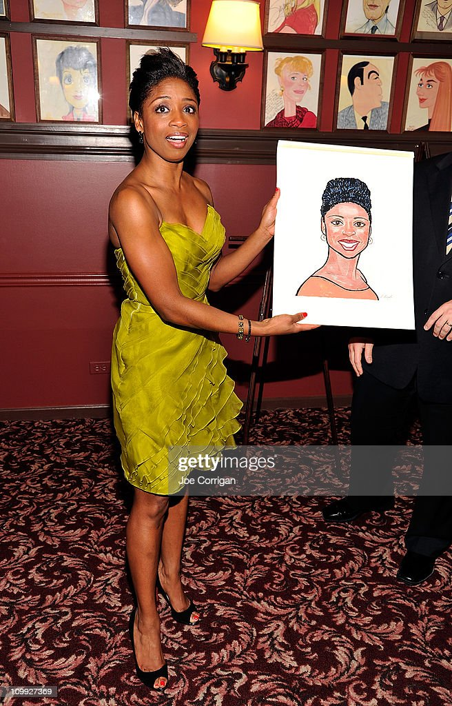 Actress Montego Glover attends her caricature unveiling for Broadway's 'Memphis' with co-star Chad Kimball at Sardi's on March 10, 2011 in New York City.