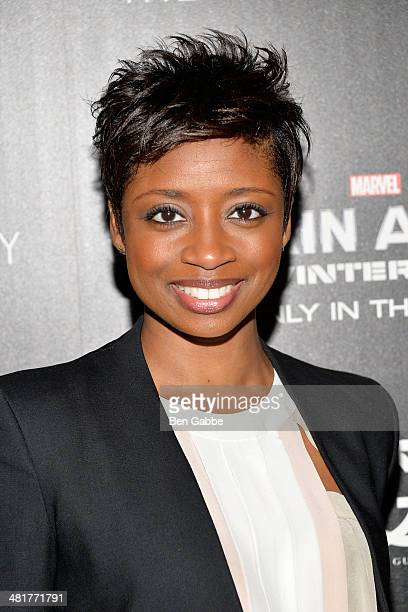 Actress Montego Glover attends The Cinema Society Gucci Guilty screening of Marvel's 'Captain America The Winter Soldier' at Tribeca Grand Hotel on...