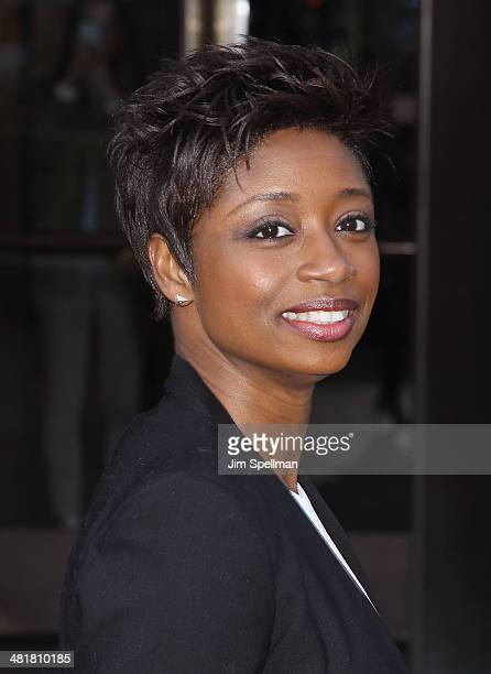 Actress Montego Glover attends The Cinema Society Screening of 'Captain America The Winter Soldier' Screening at Tribeca Grand Hotel on March 31 2014...