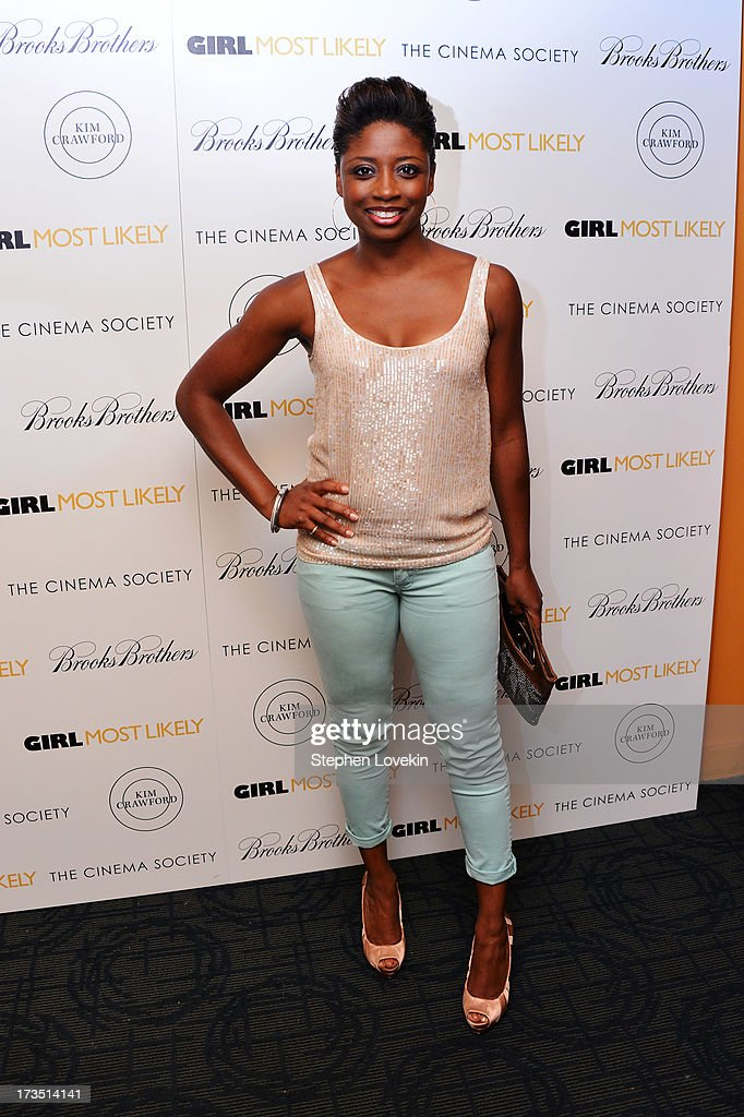 Actress Montego Glover attends the screening of Lionsgate and Roadside Attractions' 'Girl Most Likely' hosted by The Cinema Society & Brooks Brothers at Landmark's Sunshine Cinema on July 15, 2013 in New York City.