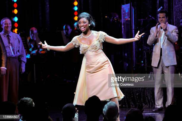 Actress Montego Glover takes a bow following her performance in the Broadway production of 'Memphis' at the Shubert Theatre on September 6 2011 in...