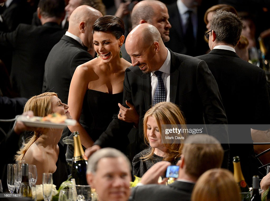 Actress <a gi-track='captionPersonalityLinkClicked' href=/galleries/search?phrase=Morena+Baccarin&family=editorial&specificpeople=812774 ng-click='$event.stopPropagation()'>Morena Baccarin</a> (C) and writer/director Austin Chick (R) attend the 19th Annual Screen Actors Guild Awards held at The Shrine Auditorium on January 27, 2013 in Los Angeles, California.